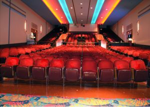 an auditorium filled with plush seats
